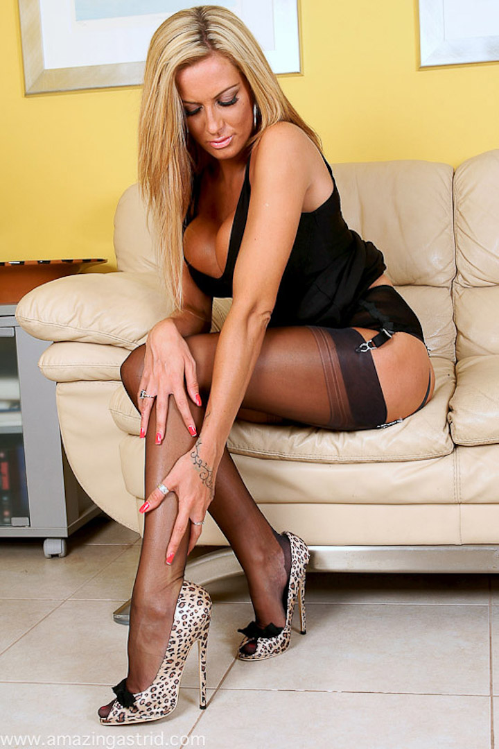 Stockings heels spread high sexy