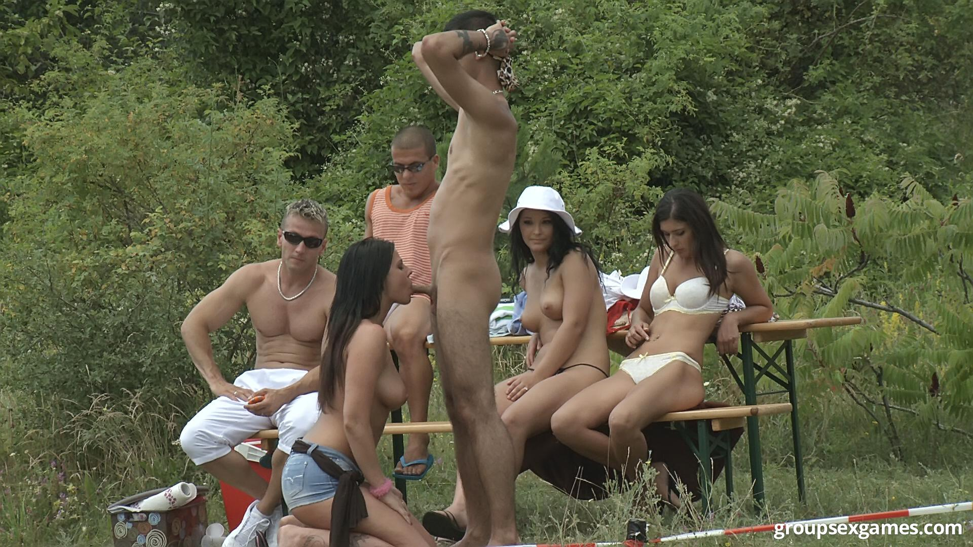 Long outdoor orgy videos